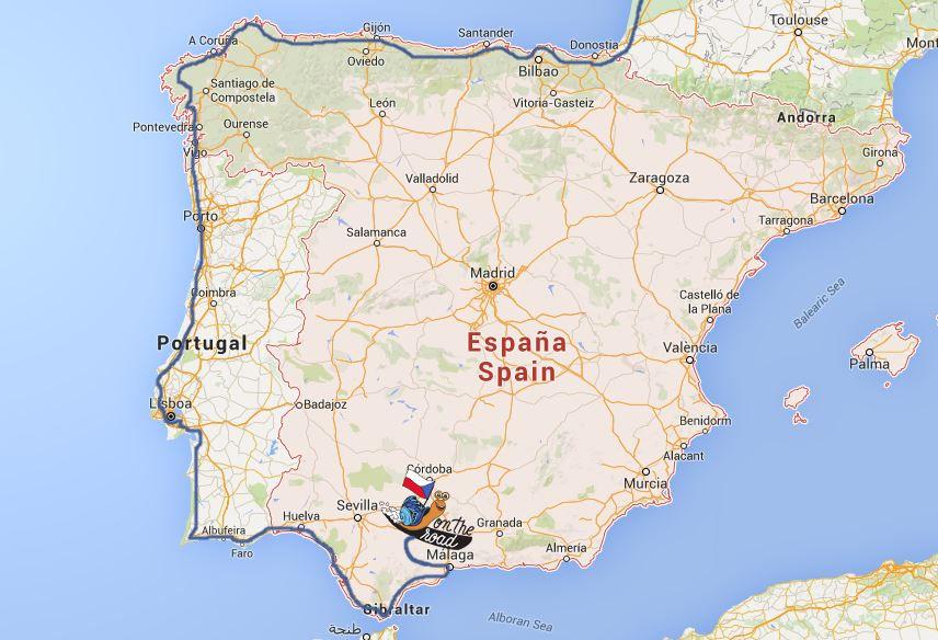 mapa cesty do Španělska