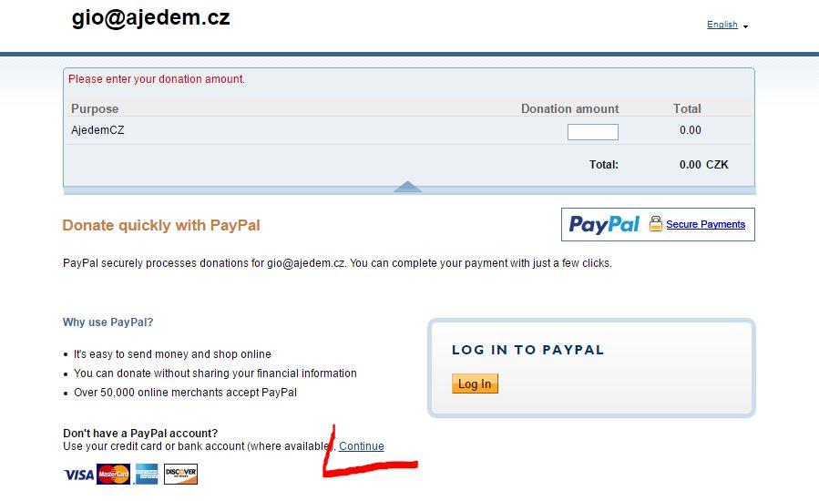 Paypal 1. krok